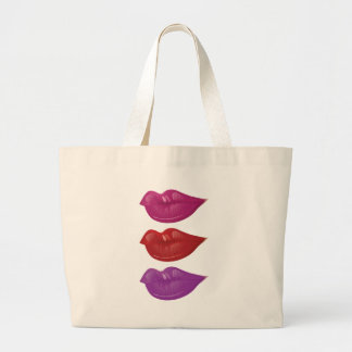 Colorful lips 3 large tote bag