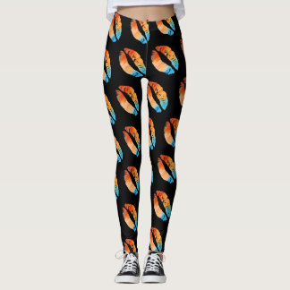 Colorful Lips Modern Black #5 Leggings