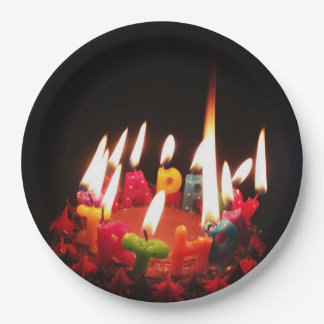 """Colorful, LitC """"Happy Birthday"""" Candles, Dark Room 9 Inch Paper Plate"""