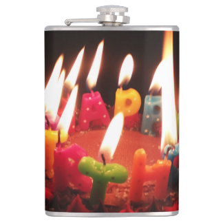 "Colorful, LitC ""Happy Birthday"" Candles, Dark Room Hip Flask"