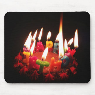"Colorful, LitC ""Happy Birthday"" Candles, Dark Room Mouse Pad"