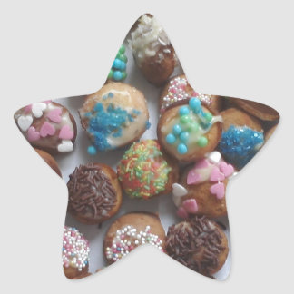 colorful little birthday cakes, food, party cake star sticker