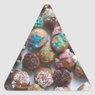 colorful little birthday cakes, food, party cake triangle sticker