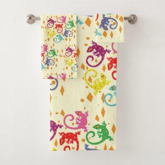 Colorful Lizards Bath Towel Set