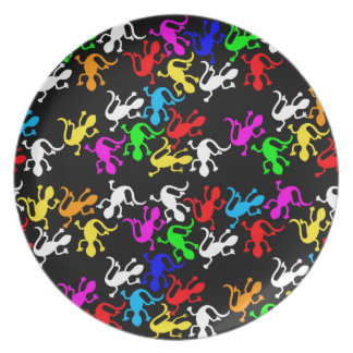Colorful lizards pattern dinner plates