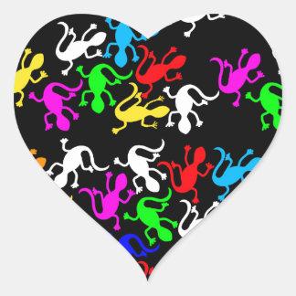 Colorful lizards - pattern heart sticker