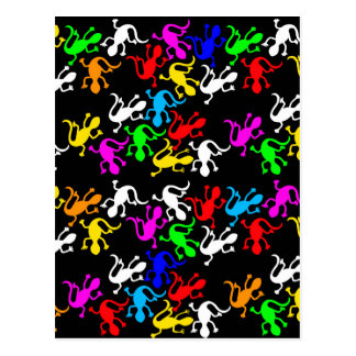 Colorful lizards - pattern postcard