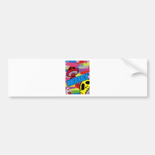 Colorful logographic kinokodokuro - white lock bumper sticker