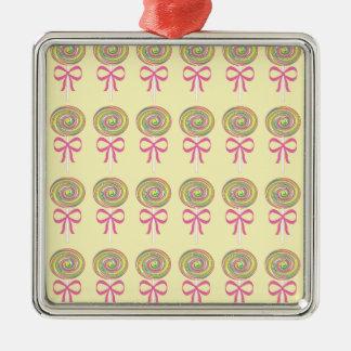 Colorful lollipops pattern Silver-Colored square ornament