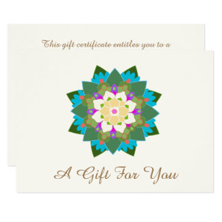 Colorful Lotus Floral Mandala Gift Certificate Card
