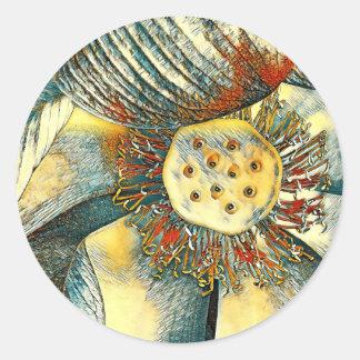 Colorful Lotus Flower Art Classic Round Sticker