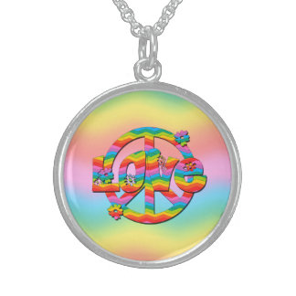 Colorful Love and Peace Sterling Silver Necklace
