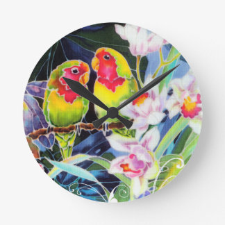 Colorful Love Birds and Orchids Tropical Print Round Clock