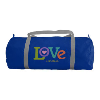 Colorful Love custom name duffle bags