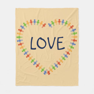 Colorful LOVE Heart Design Fleece Blanket
