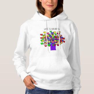 Colorful LOVE Hearts Trees Design Cute Hoodie