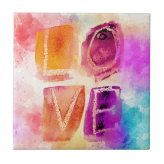 Colorful Love in Watercolor Tile