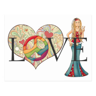 Colorful LOVE, Peace and Flower Heart Hippie Girl Postcard