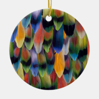 Colorful lovebird parrot feathers ceramic ornament