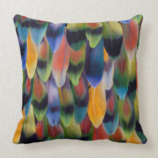 Colorful lovebird parrot feathers throw pillow