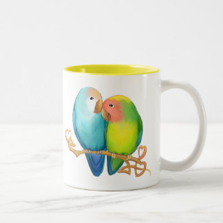 Colorful Lovebirds Two-Tone Coffee Mug