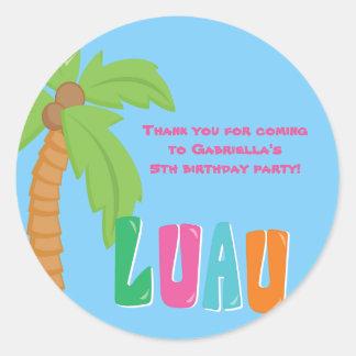 Colorful Luau Palm Tree Round Sticker