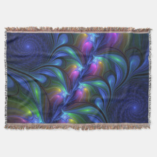 Colorful Luminous Abstract Blue Pink Green Fractal Throw Blanket
