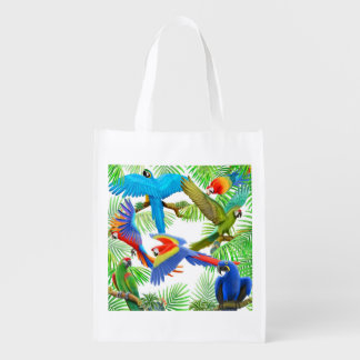 Colorful Macaw Parrot Jungle Grocery Bag