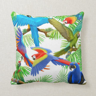 Colorful Macaw Parrots Pillow
