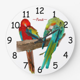 Colorful Macaw Parrots Wall Clock