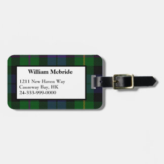 Colorful MacBride Tartan Plaid Luggage Tag