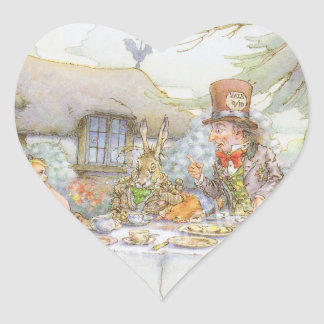 Colorful Mad Hatter's Tea Party Heart Sticker