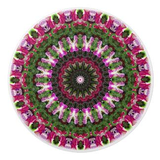 Colorful Magenta and Green Mandala Ceramic Knob