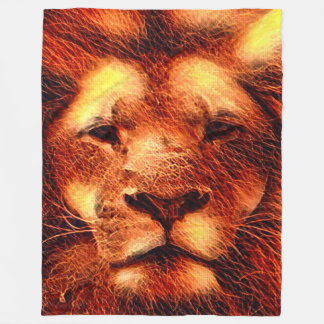 Colorful Majestic Lion Fleece Blanket