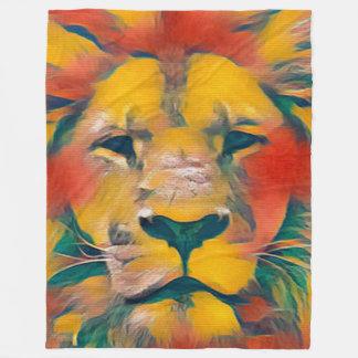 Colorful Majestic Lion Watercolor Fleece Blanket