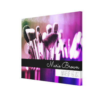 Colorful Makeup Brushes with Custom Name Canvas Print
