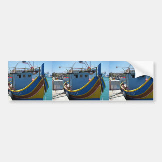 Colorful Maltese Fishing Boat Bumper Sticker