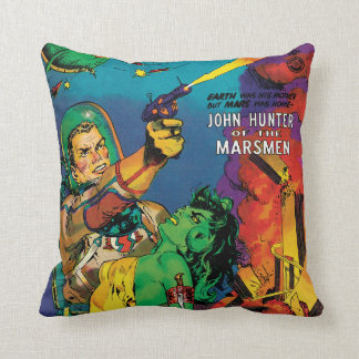 Colorful Man O' Mars Vintage 50s Comic Book Cover Throw Pillow