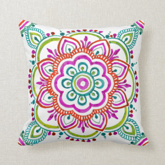 Colorful mandala floral design pillow