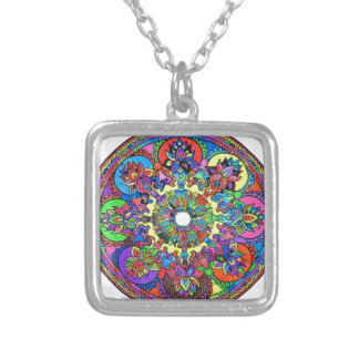 Colorful Mandala Silver Plated Necklace