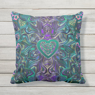 Colorful Mandala With Celtic Heart Outdoor Pillow