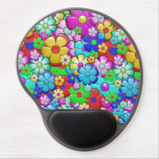 Colorful manga-style floral gel mouse pad
