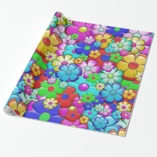 Colorful manga-style floral pattern wrapping paper