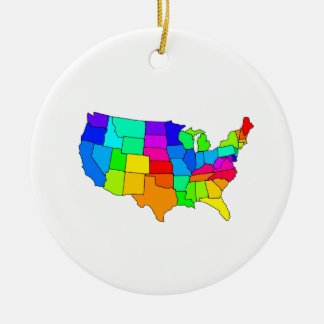 Colorful map of the United States of America Ceramic Ornament