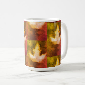 Colorful Maple Leaf Natural Ink Handmade Art Coffee Mug