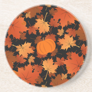 Colorful maple leaves and pumpkins fall pattern coaster