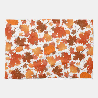 Colorful maple leaves and pumpkins fall pattern kitchen towel