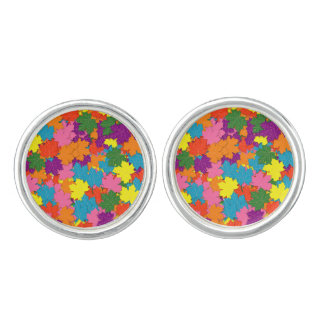 Colorful maple leaves pattern cufflinks
