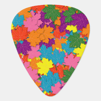 Colorful maple leaves pattern guitar pick