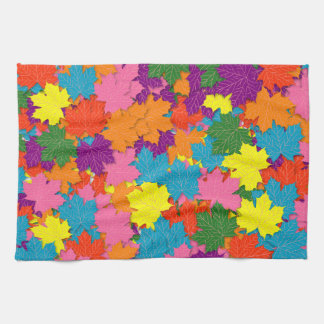 Colorful maple leaves pattern kitchen towel